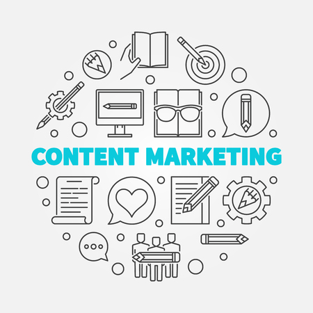 Content Marketing round vector linear illustration
