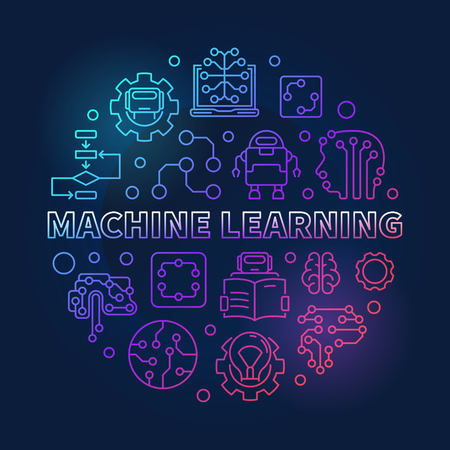 Machine Learning round vector colored outline illustration Vector Illustration