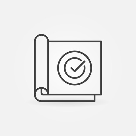 Paper with check mark linear vector concept icon Ilustração