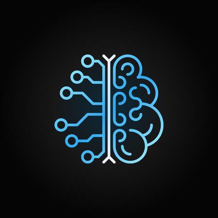 AI brain simple vector blue outline icon on dark background Vektorgrafik