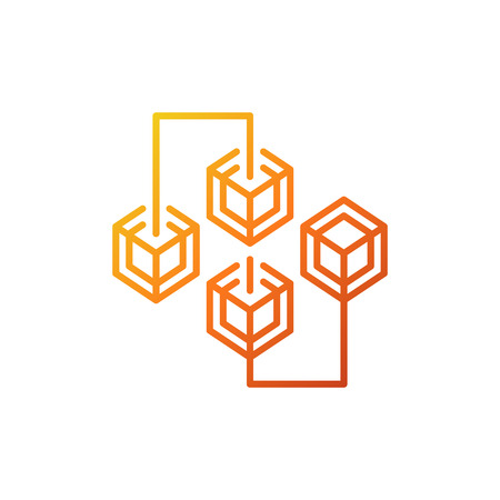 Blockchain cryptocurrency colored line vector concept icon Illustration