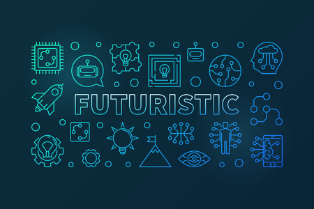 Futuristic vector blue modern horizontal banner in line style