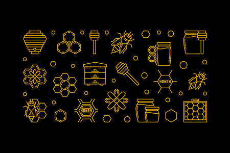 Honey and Beekeeping vector linear banner on dark background