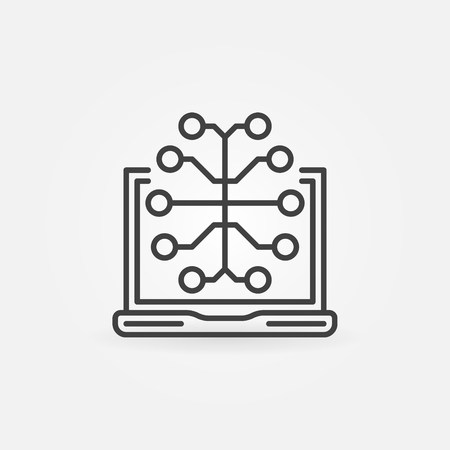 Laptop with Brain vector outline icon or design element