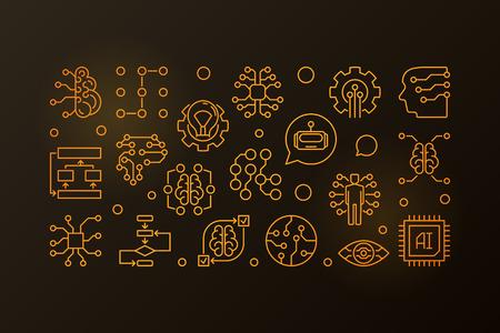AI golden horizontal line banner. Vector illustration