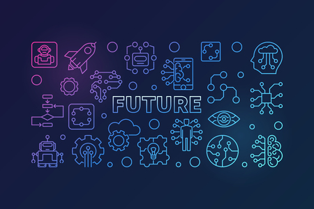 Future vector colorful modern illustration in thin line style