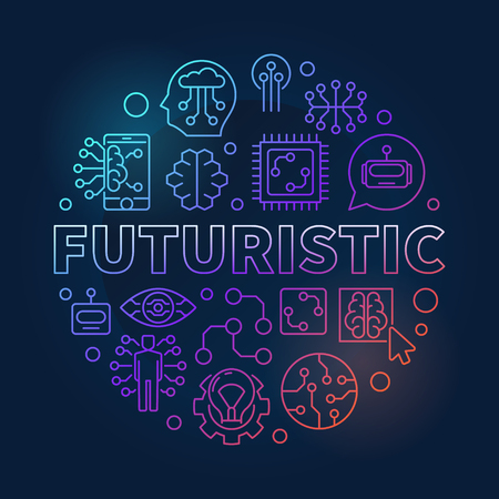 Futuristic round vector colorful illustration in thin line style