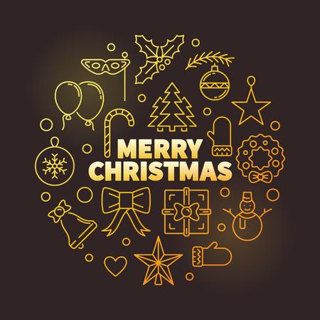 Merry Christmas round vector golden outline illustration Stock fotó - 110424993