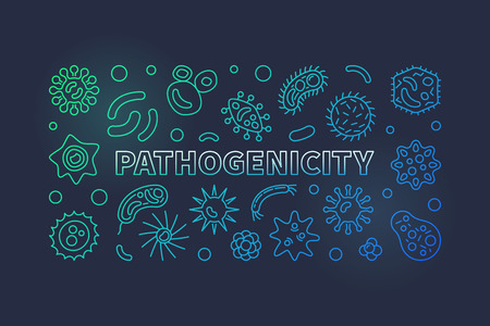 Pathogenicity colorful line banner. Vector pathogen illustration