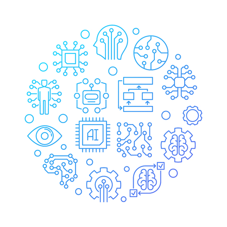 AI technology round blue line illustration on white background
