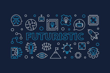Futuristic vector horizontal creative banner in thin line style