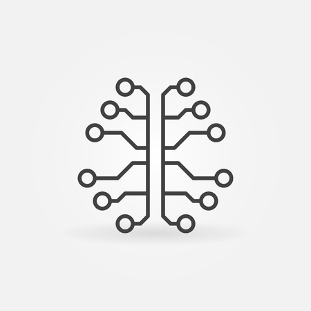 Artificial Intelligence brain line icon. Vector cyberbrain sign