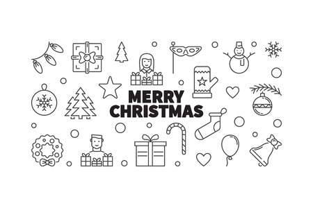 Merry Christmas vector horizontal illustration. Creative xmas banner made outline icons in circle shape