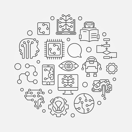 Machine Learning circular vector concept illustration in outline style Ilustração