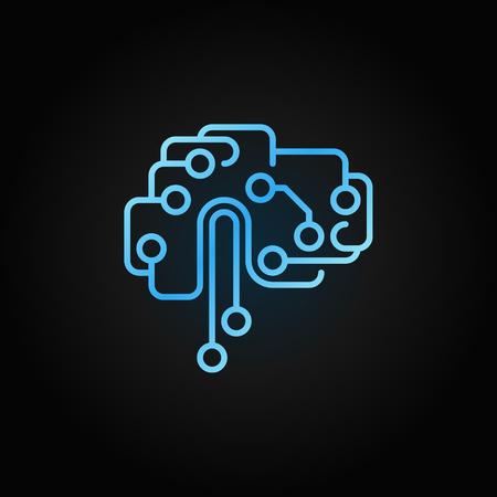 Circuit tech brain outline blue icon. Vector AI brain sign Vector Illustration