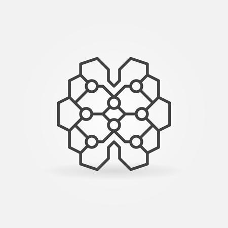 Geometric digital brain linear icon. Vector AI cyberbrain concept sign in thin line style