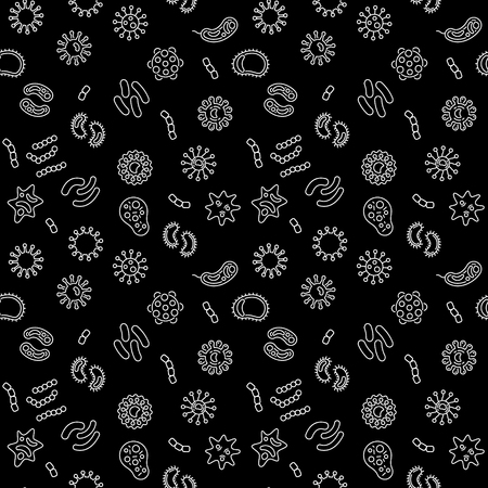 Seamless vector pattern with virus, bacterium, pathogen and microbe white icons in thin line style with black background