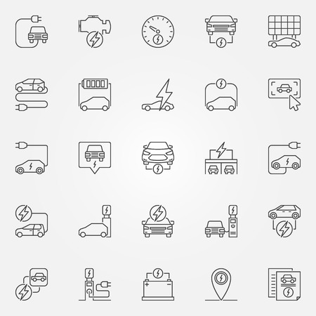 Electric car outline icons. Vector electric automobile line sign