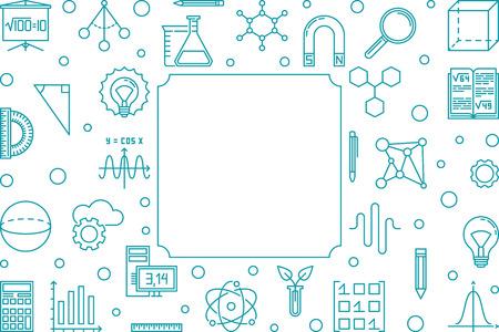 Marco azul de ciencia, tecnología, ingeniería y matemáticas Ilustración de vector