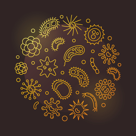 Pathogen and viruses round vector golden outline illustration
