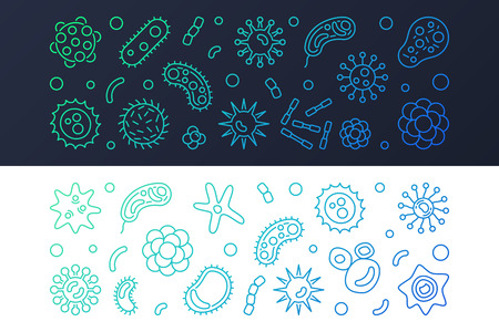 Set of 2 virus and microorganism vector line colored banners