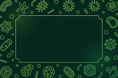 Virus green horizontal frame. Vector line virology illustration