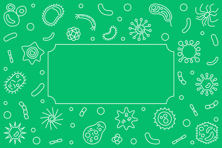 Bacteria and Viruses horizontal background - vector line frame