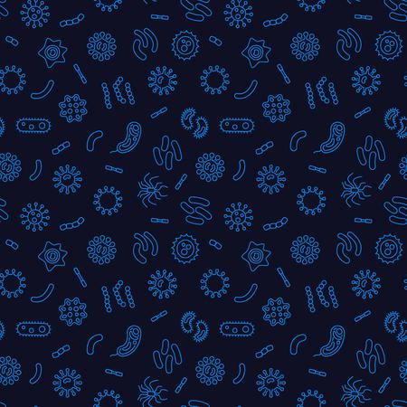 Dark seamless bacterium pattern. Vector illustration Vetores