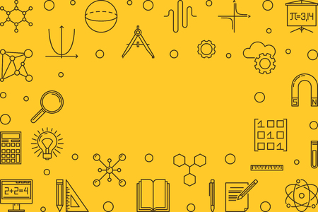 Science, technology, engineering and math yellow frame Illustration