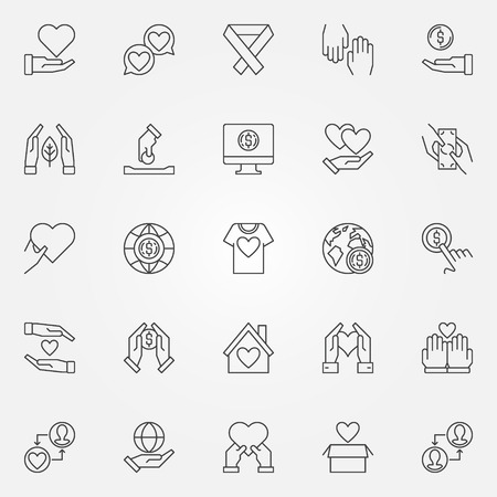 Charity and Donation outline vector icons set Illustration
