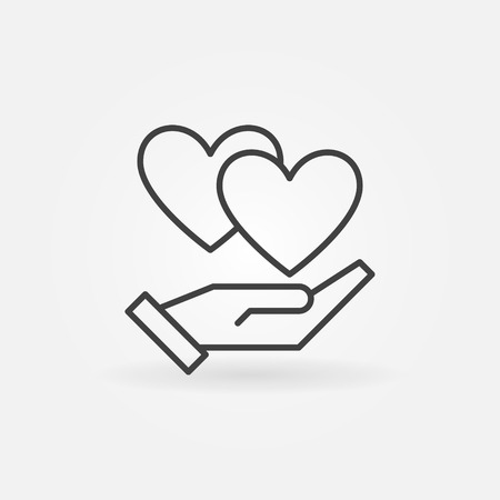 Hand with hearts vector icon in thin line style