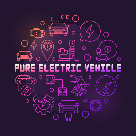 Pure electric vehicle round vector colored line illustration Çizim
