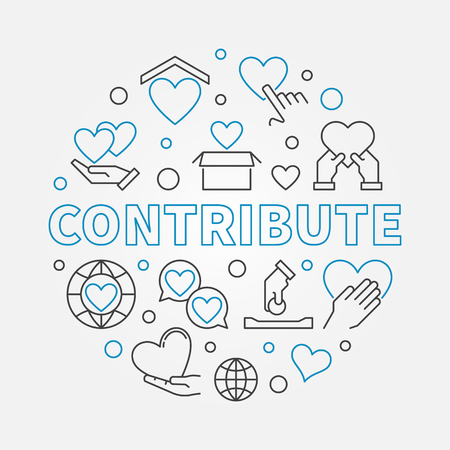 Contribute round vector illustration in thin line style Иллюстрация