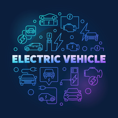 Electric vehicle round vector bright illustration in outline sty Ilustração