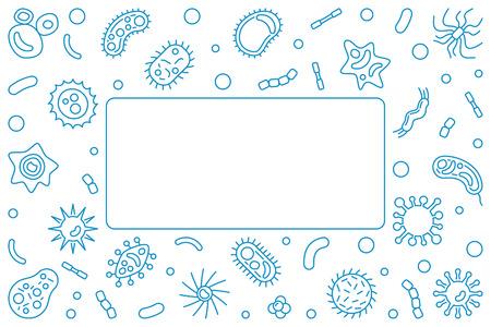 Marco horizontal azul patógeno. Ilustración de contorno vectorial Ilustración de vector