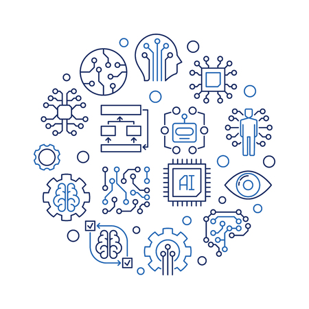 AI technology round creative vector outline illustration