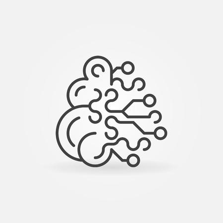 Artificial Intelligence brain concept outline icon Vektoros illusztráció
