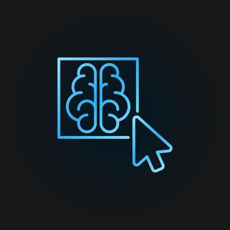 Click on brain button colored vector outline icon