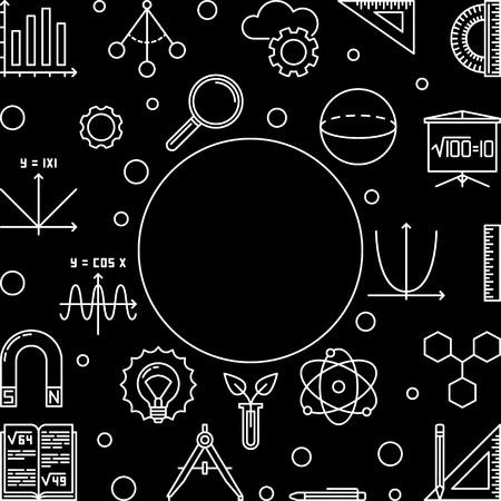 STEM education simple frame with black background - vector science technology engineering math concept outline illustration Illustration