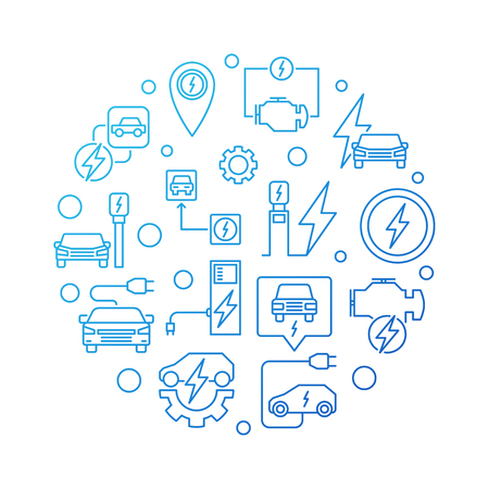 Electric vehicle circular vector blue outline illustration