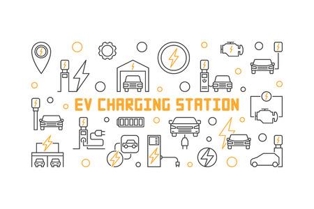 EV charging station vector illustration in thin line style 免版税图像 - 112712725