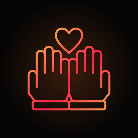 Hands and heart vector line colored icon on dark background
