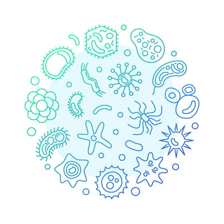 Viruses round vector blue modern illustration in outline style