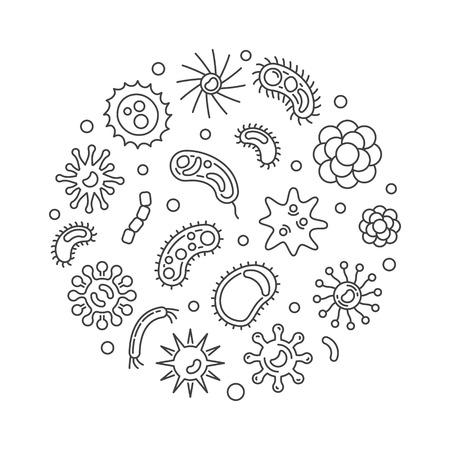 Pathogen and viruses round vector minimal line illustration 向量圖像