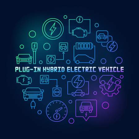 Plug-in Electric Vehicle round vector colorful illustration in thin line style on dark background