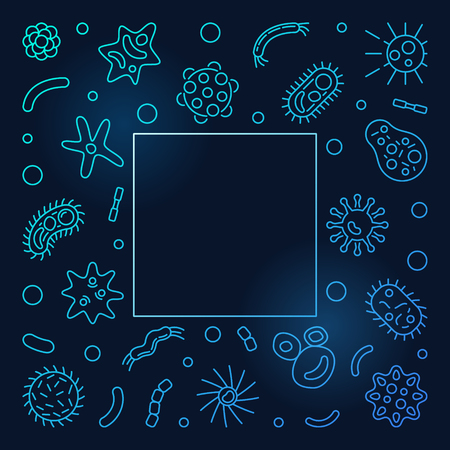Microbiology outline blue frame. Vector concept illustration