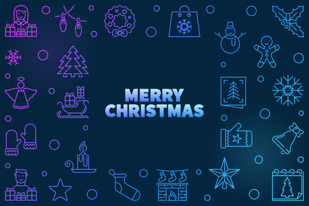 Vector Merry Christmas colored outline illustration Illustration