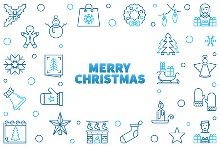 Vector Merry Christmas illustration. Xmas blue line frame