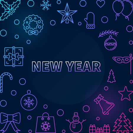 Vector New Year square colored frame or background in thin line style