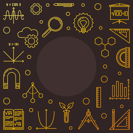 STEM learning square golden frame. Vector outline illustration